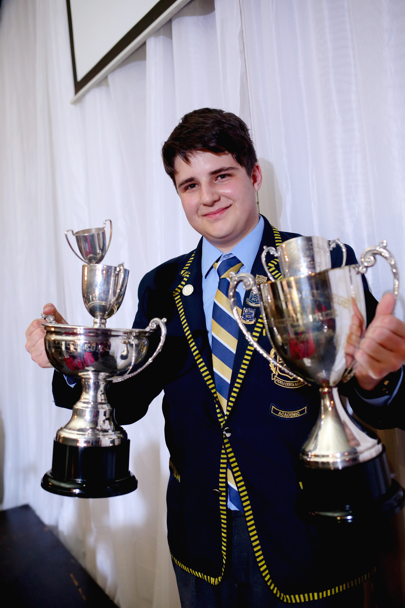 Jason Lazarov with his Top Cambridge Matric Student Awards