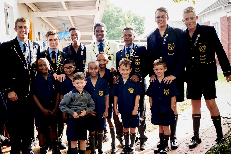 senior boys to preshool boys on their first day back at school